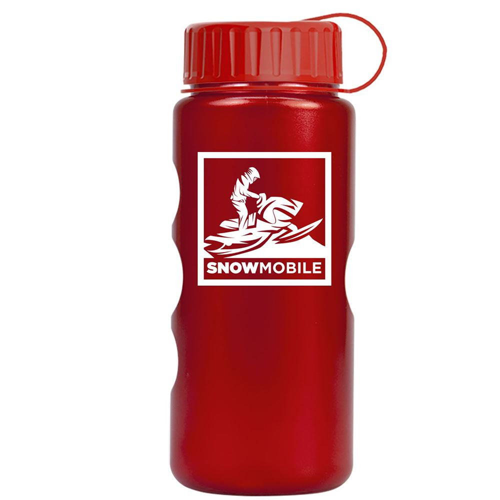 Mini Peak Metalike Bottle with Tethered Lid - 22 Oz.-Personalization Available