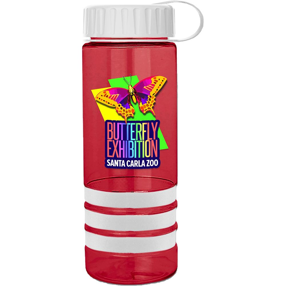 Tritan Stripe with Tethered Lid - 24 Oz - Full Color Personalization Available