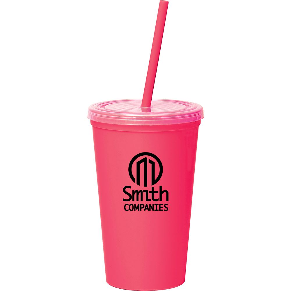 Miami Double-Wall Tumbler with Straw 16 oz.- Personalization Available