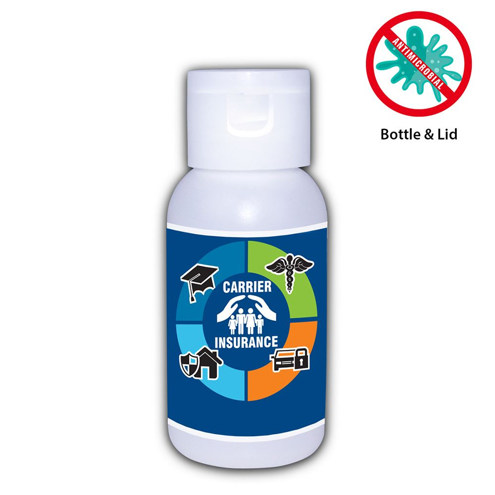 1 Oz. Hand Sanitizer - 80% Alcohol� with Antimicrobial Additive (in bottle) - Personalization Available