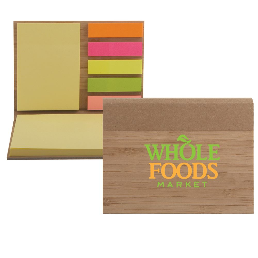 Bamboo Sticky Notepad - ColorJet Personalization Available