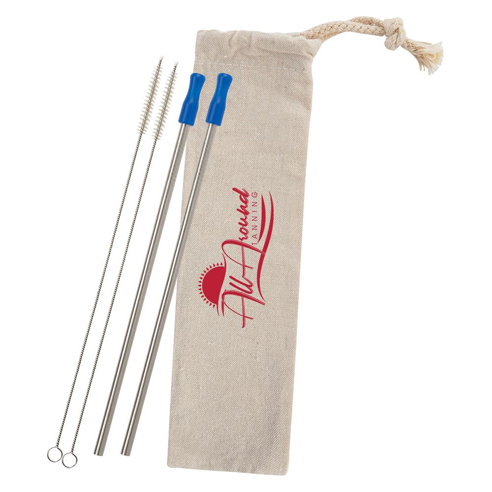 2-Pack Stainless Straw Kit with Cotton Pouch - Personalization Available