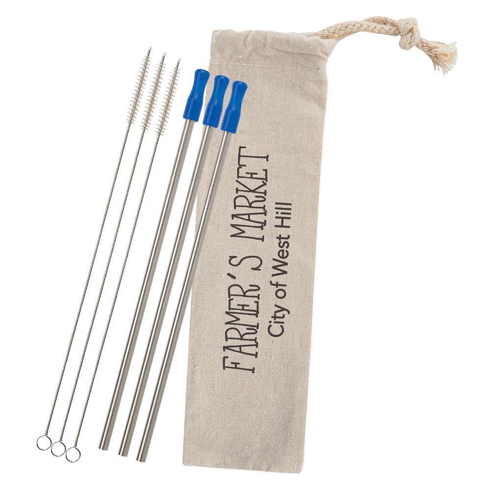 3-Pack Stainless Straw Kit with Cotton Pouch - Personalization Available