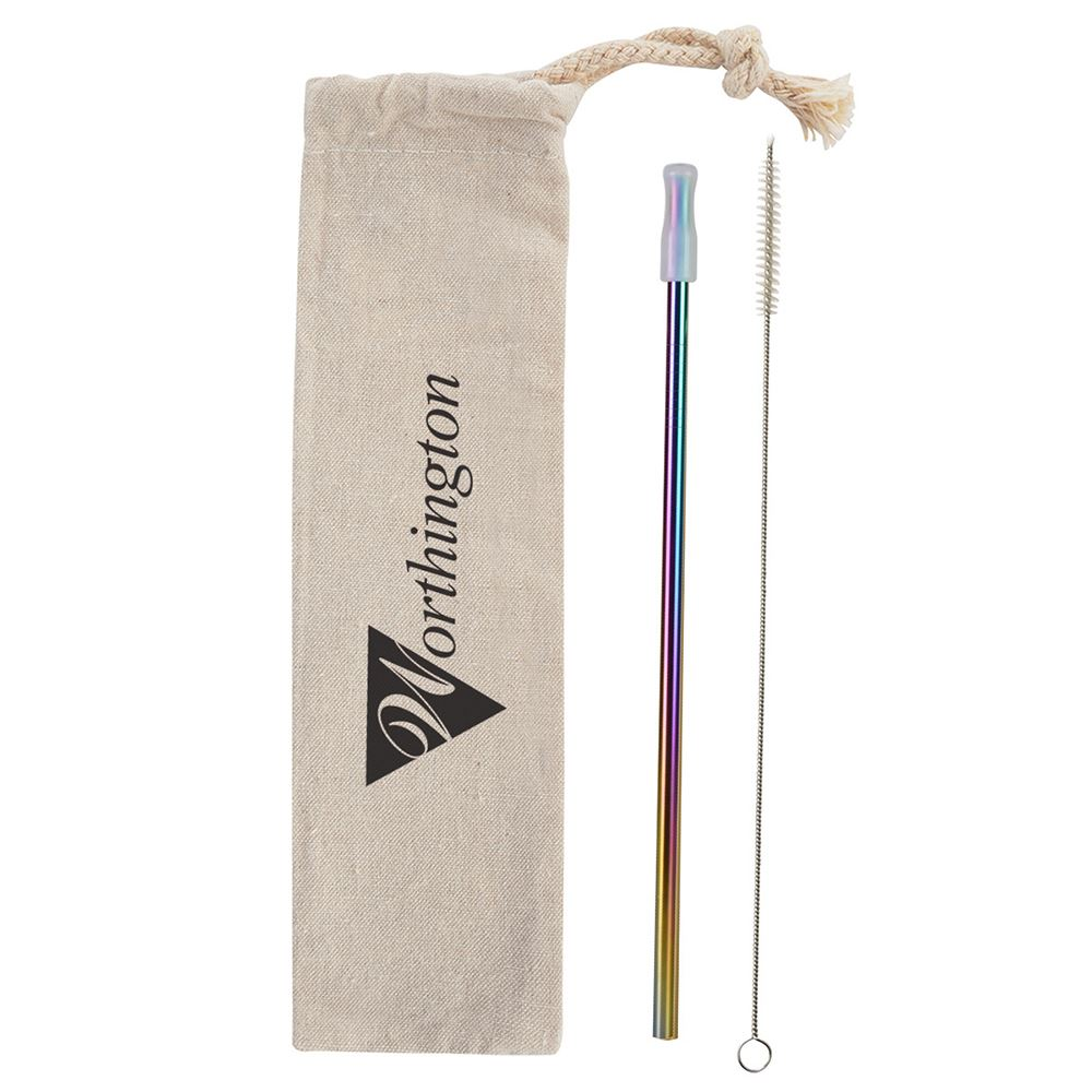 Park Avenue Stainless Straw Kit with Cotton Pouch -�Personalization Available