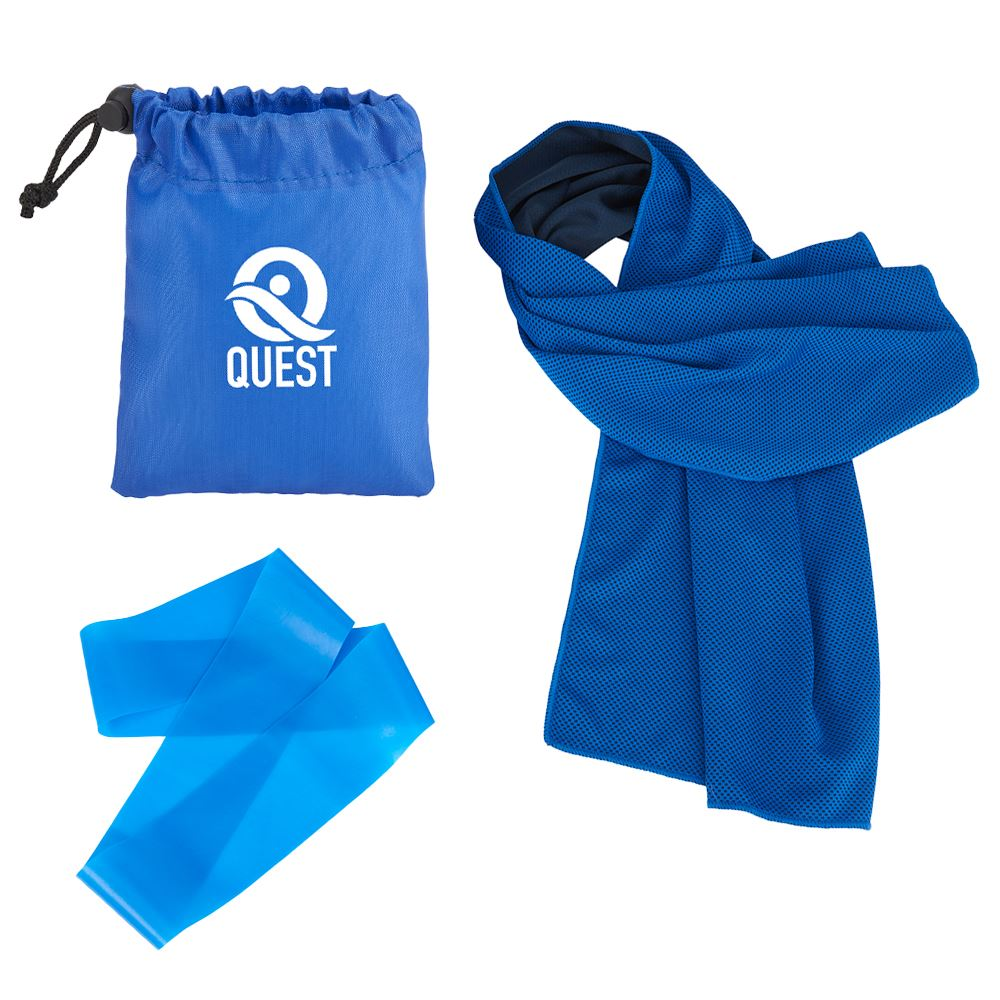 Cooling Towel and Resistance Loop in Pouch -�Personalization Available