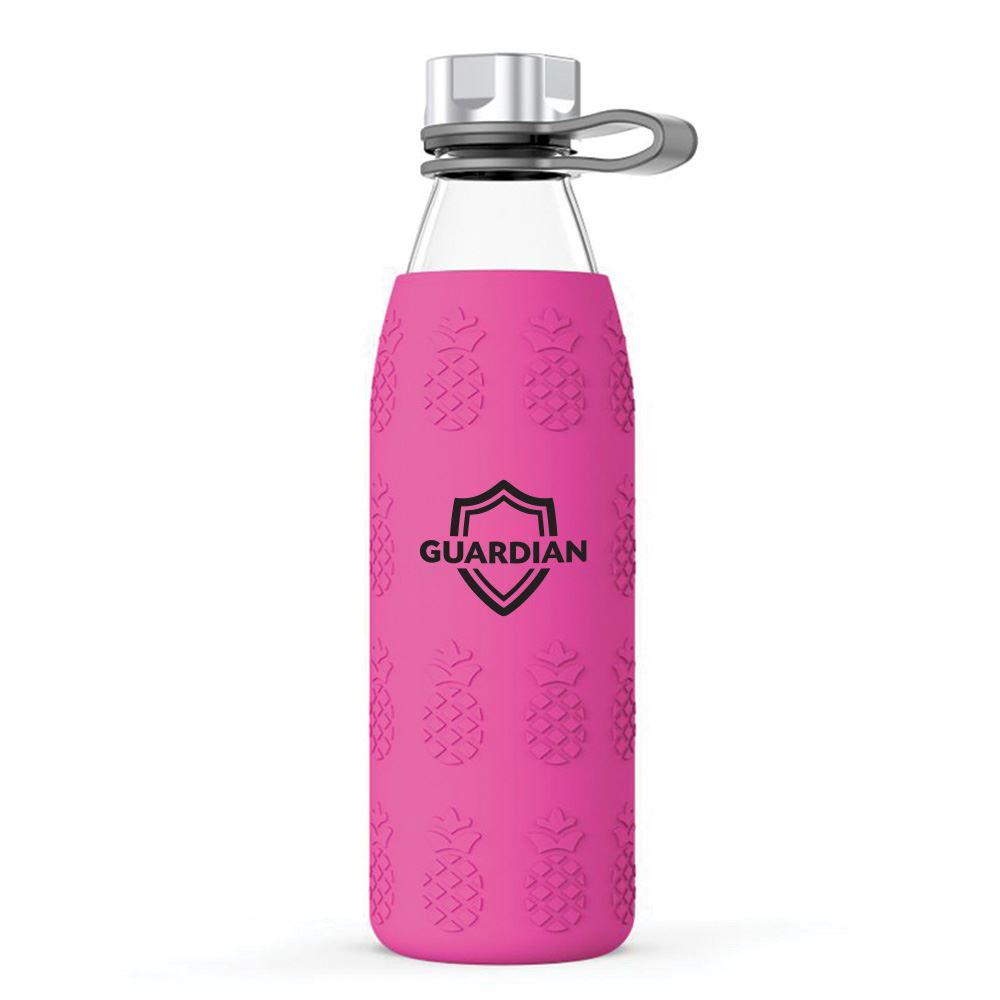 Pineapple Silicone Sleeve Soda Lime Glass Bottle