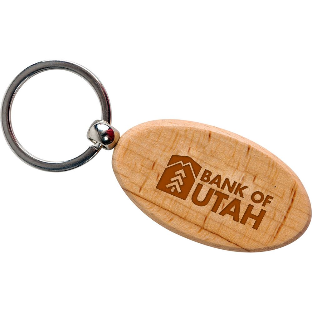 Oval Wooden Key Tag - Personalization Available