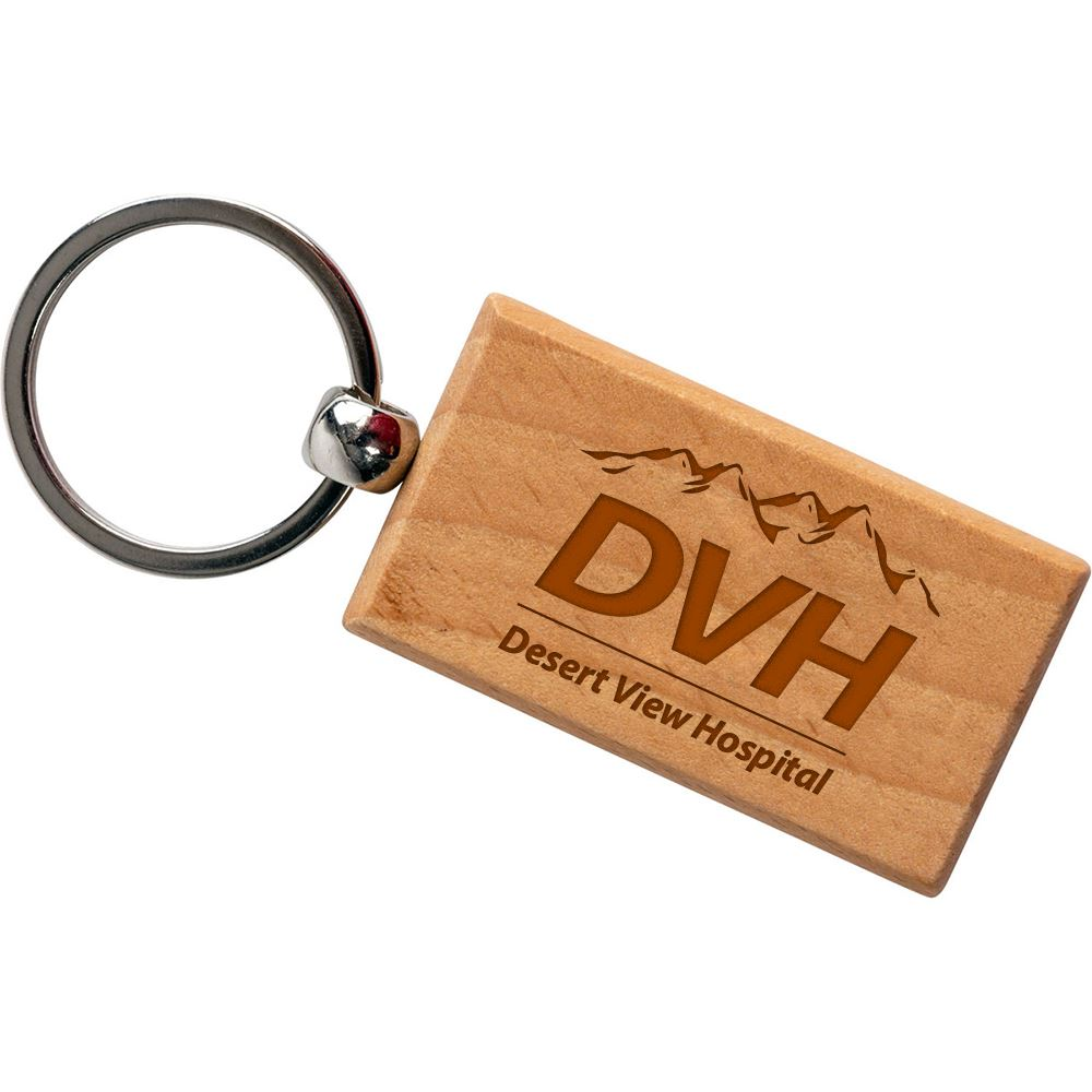 Rectangle Wooden Key Tag - Personalization Available