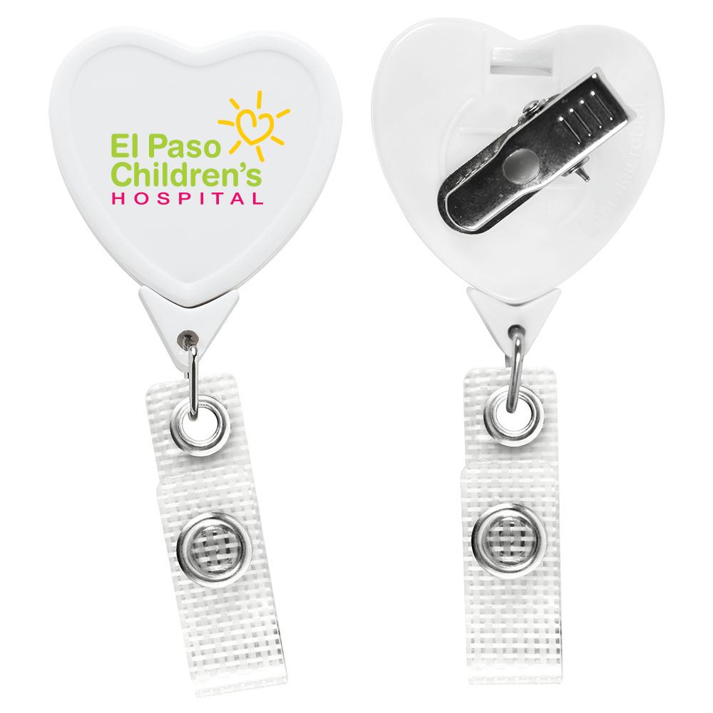 Anti-Microbial JUMBO Heart Badge Reel - Full Color Personalization Available