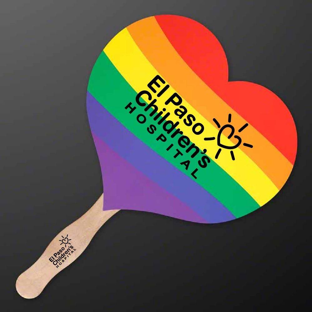 Rainbow Heart Fan - Personalization Available