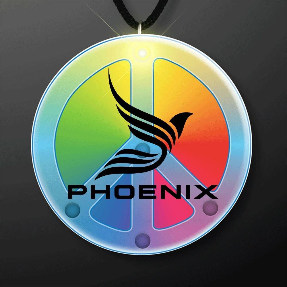 Flashing Rainbow Peace Sign Lanyard Necklace