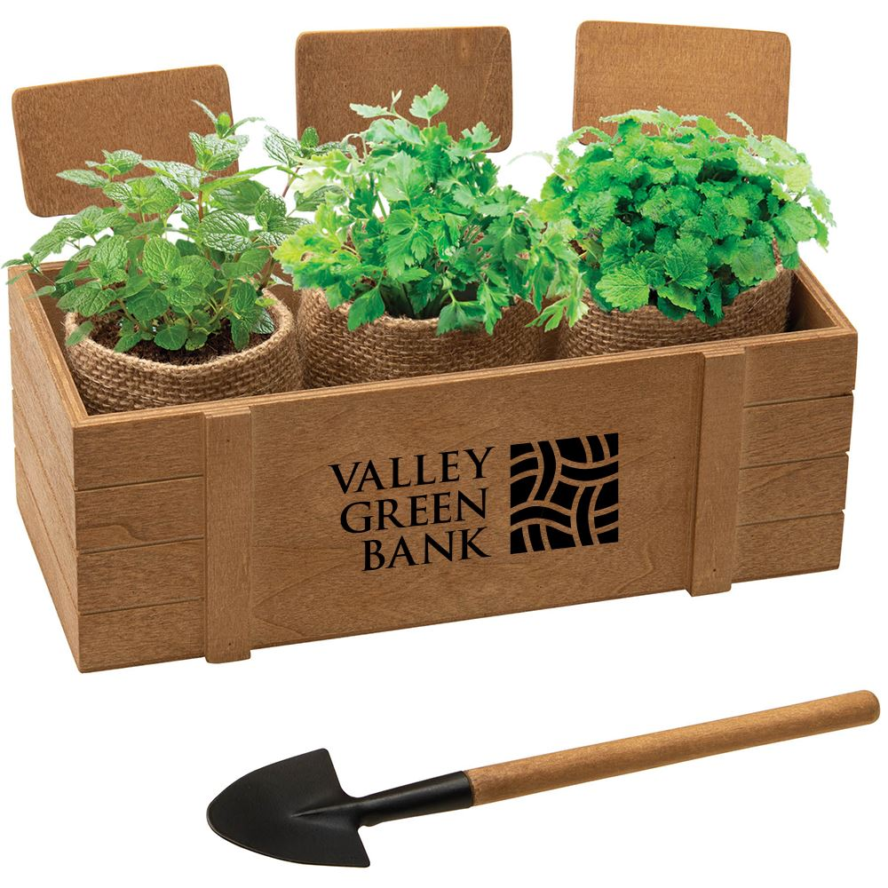 3-Planter Window Box Herb/Blossom Kit - Personalization Available