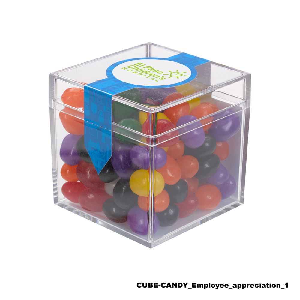 Teachers Appreciation Cube Shaped Acrylic Container With Candy - Chocolate Almonds