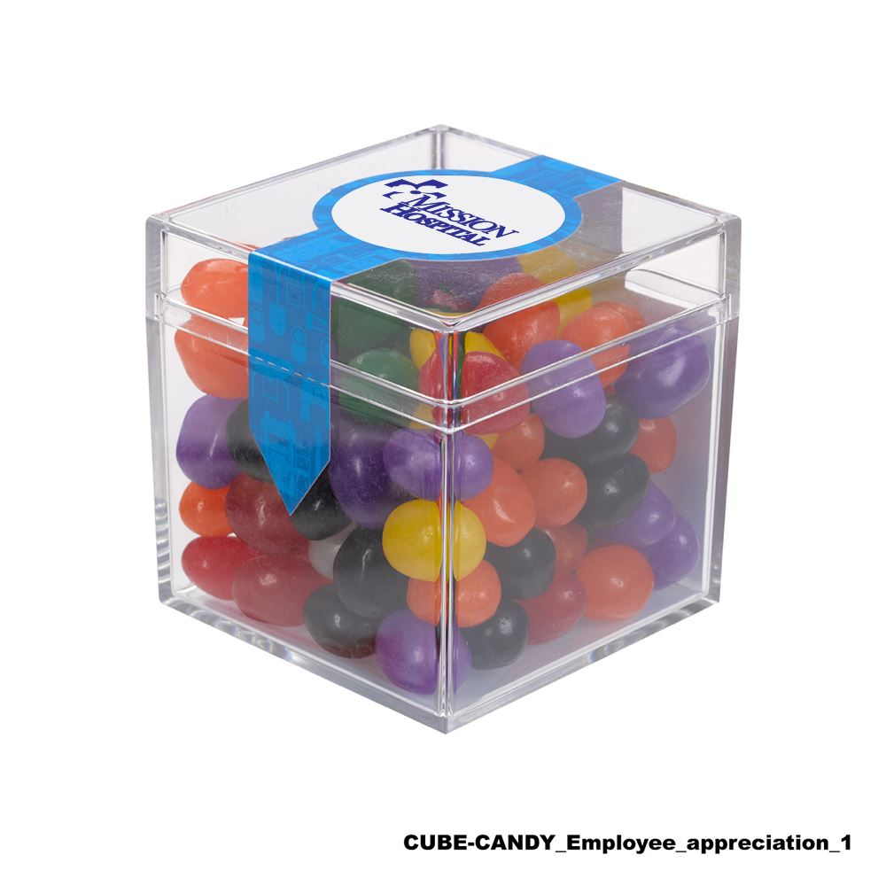 Teachers Appreciation Cube Shaped Acrylic Container With Candy - Jordan Almonds