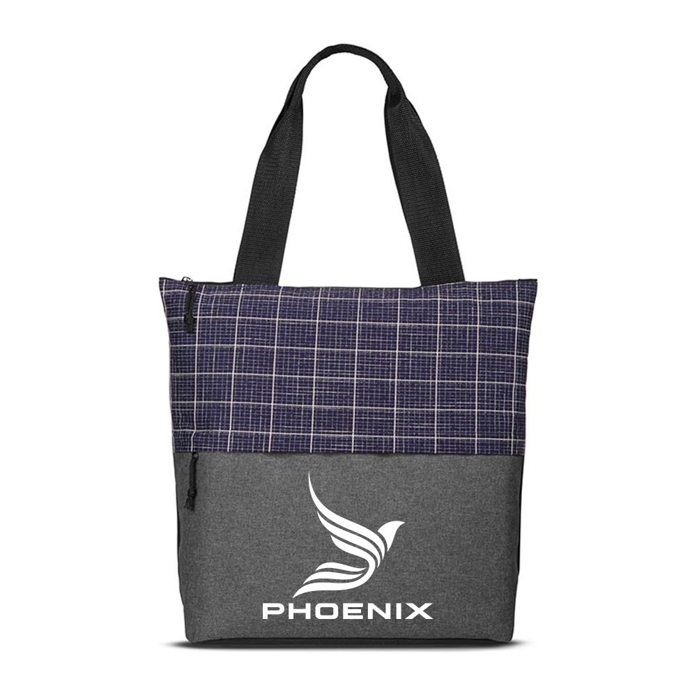 Checkered Plaid Tote Bag - Personalization Available