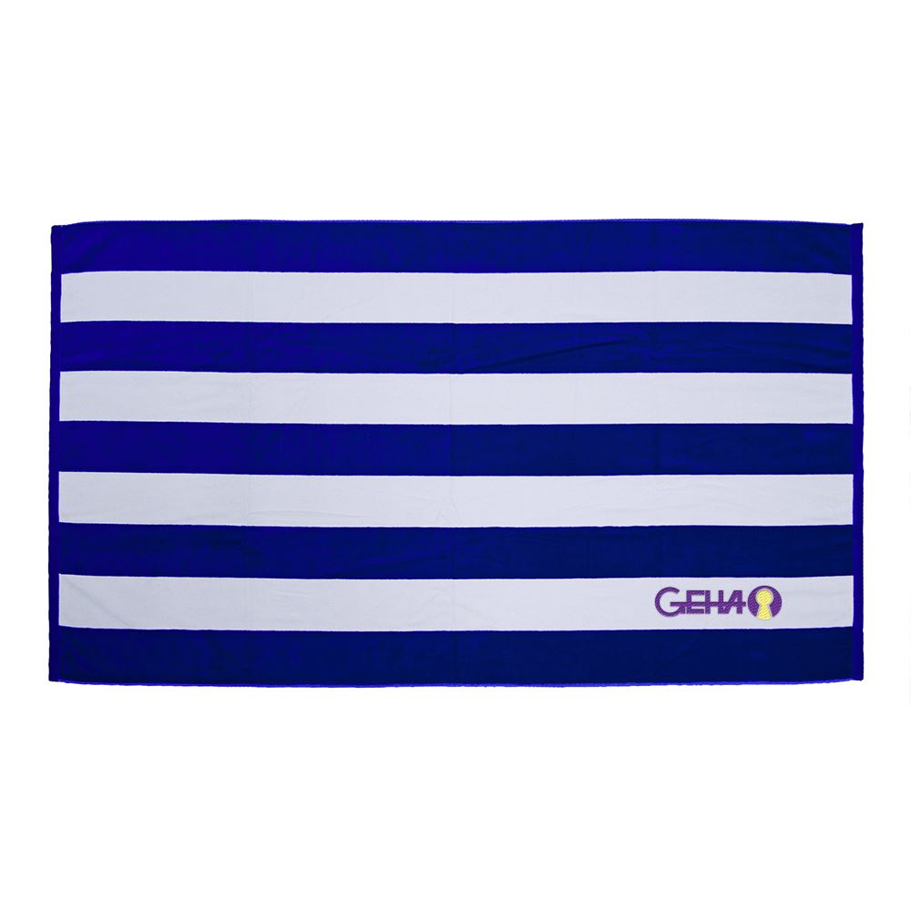 Premium Cabana Stripe Terry Velour Beach Towel - Personalization Available