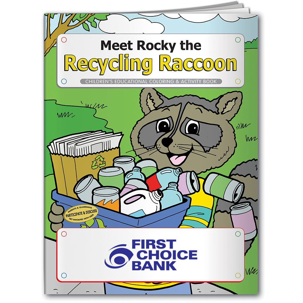 Coloring Book: Meet Rocky the Recycling Raccoon - Personalization Available