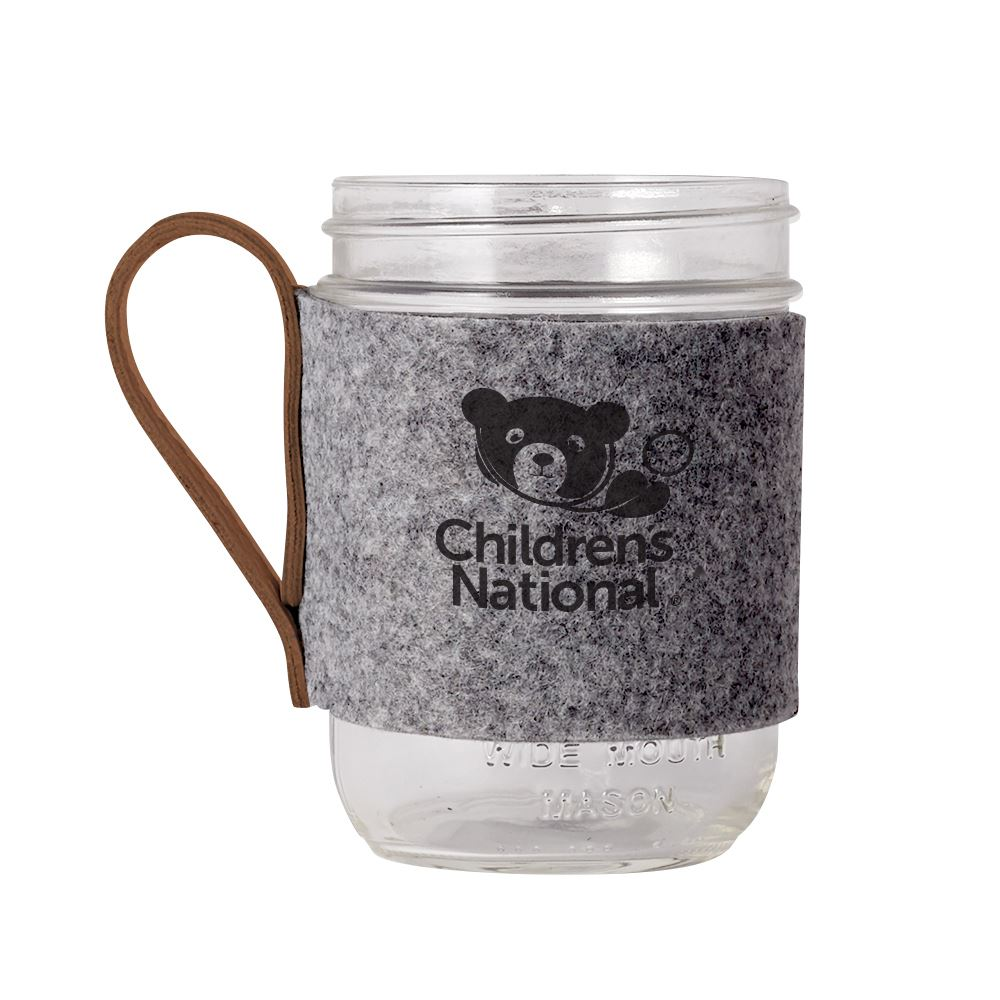 Willow Recycled Felt Sleeve and Wide Mouth Mason Jar 16 oz. - Personalization Available