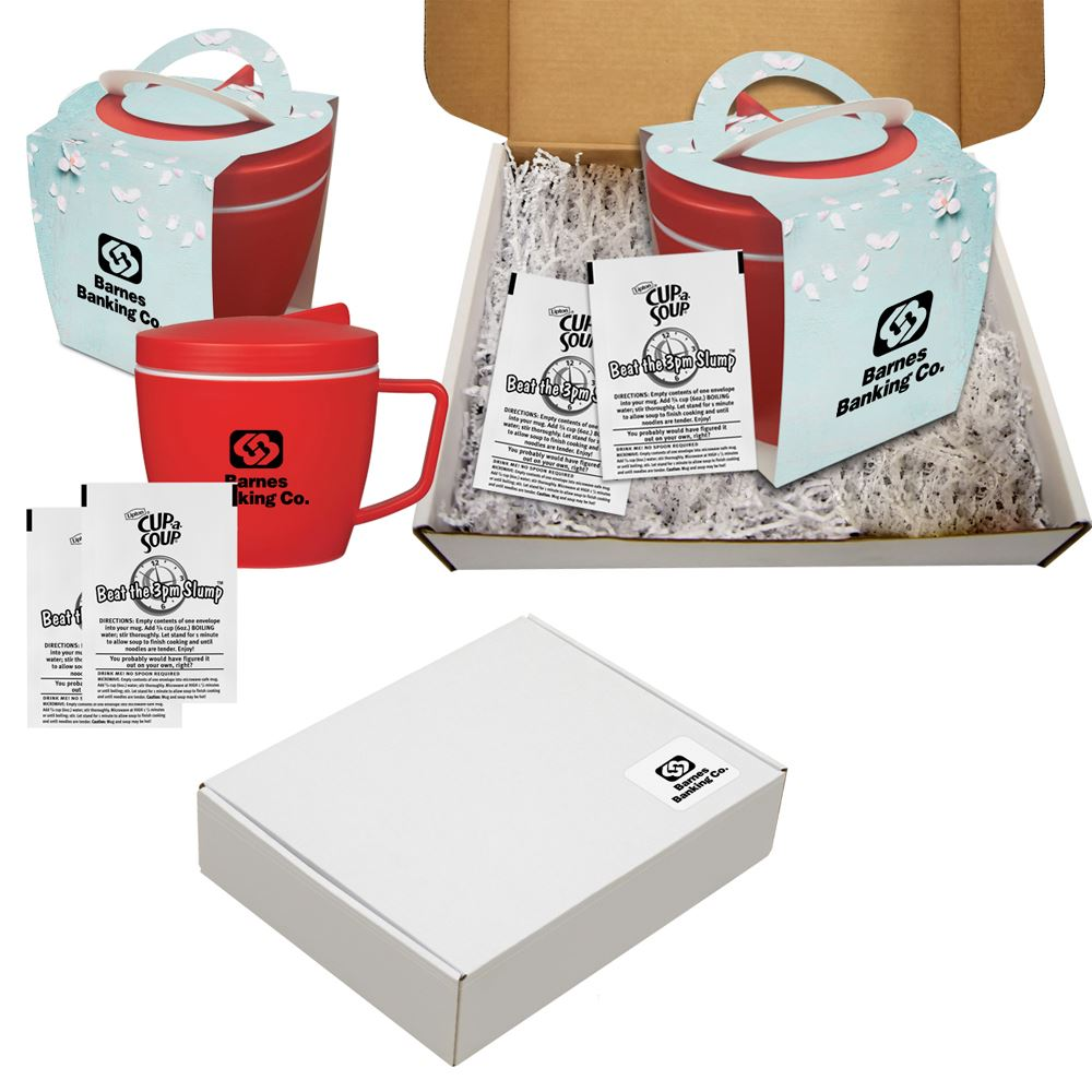 Thermal Mug Set With Soup Packet 14 oz - Personalization Available