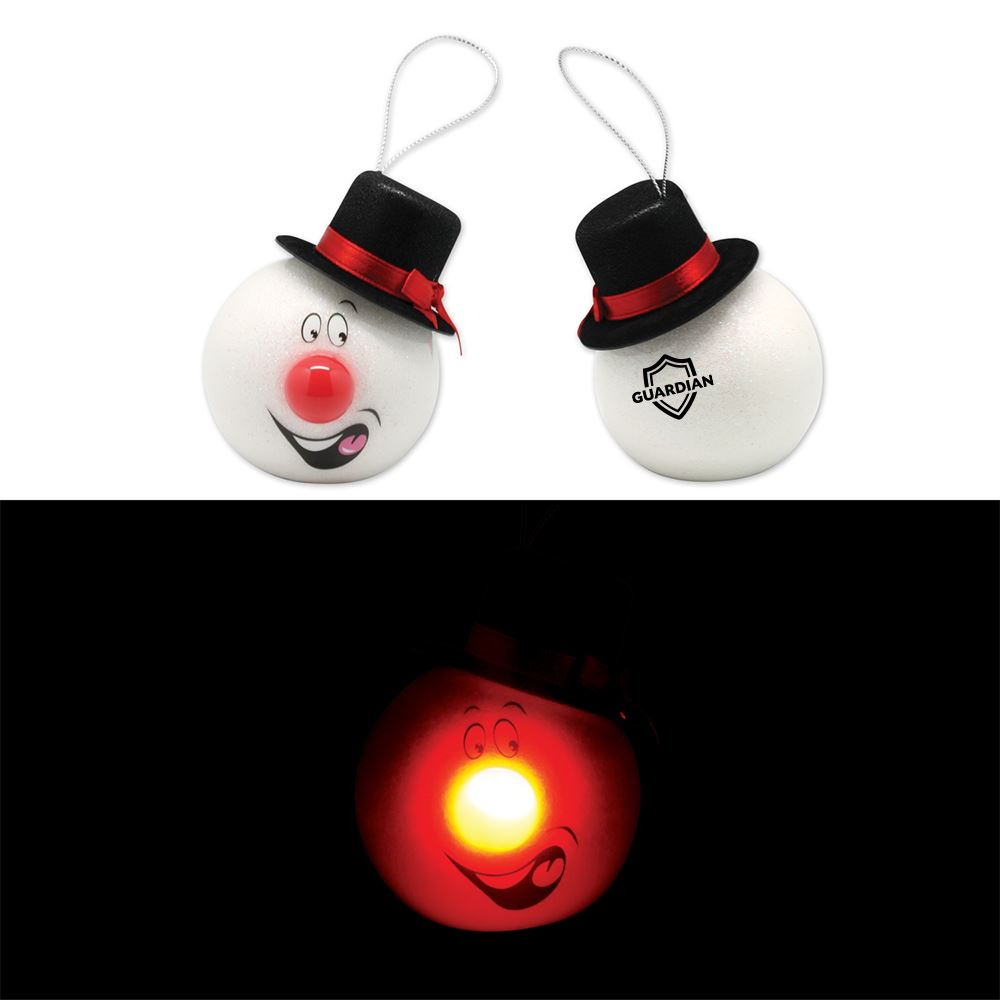 Led Snowman Ornament With Top Hat - Personalization Available