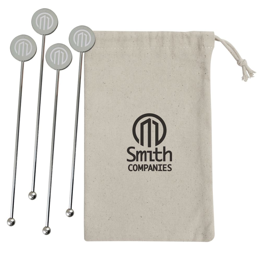 Stainless Steel Cocktail Stirrer Set - Personalization Available