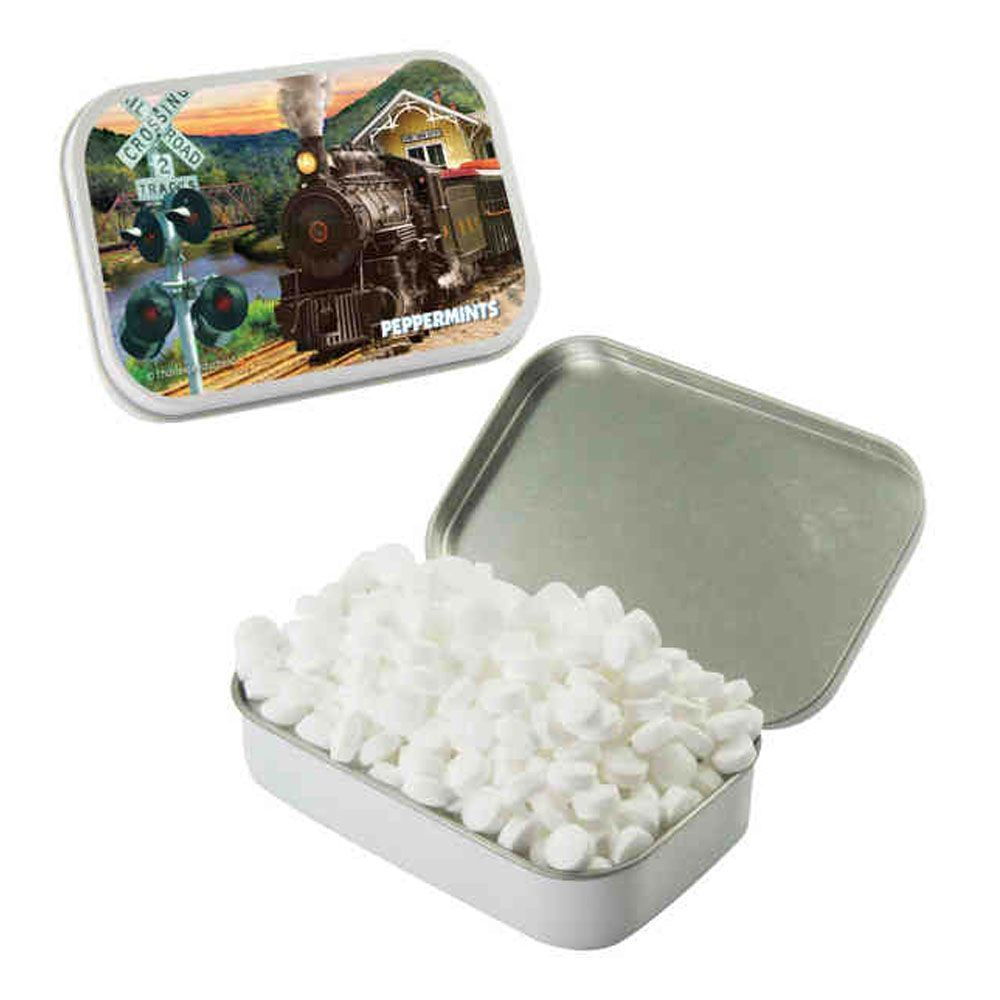 Large White Mint Tin With Sugar-Free Mints - Personalization Available