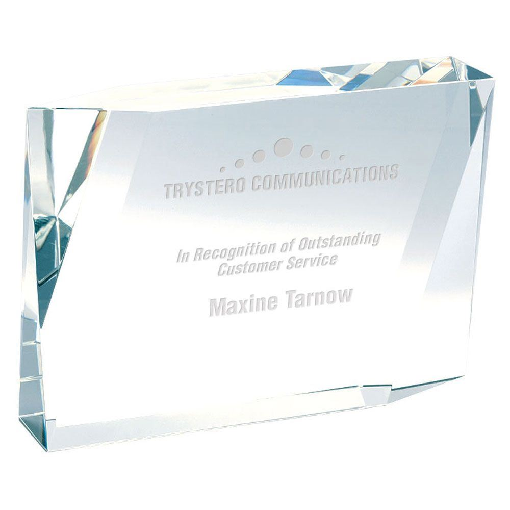 Beveled Rectangle Crystal Award - Personalization Available