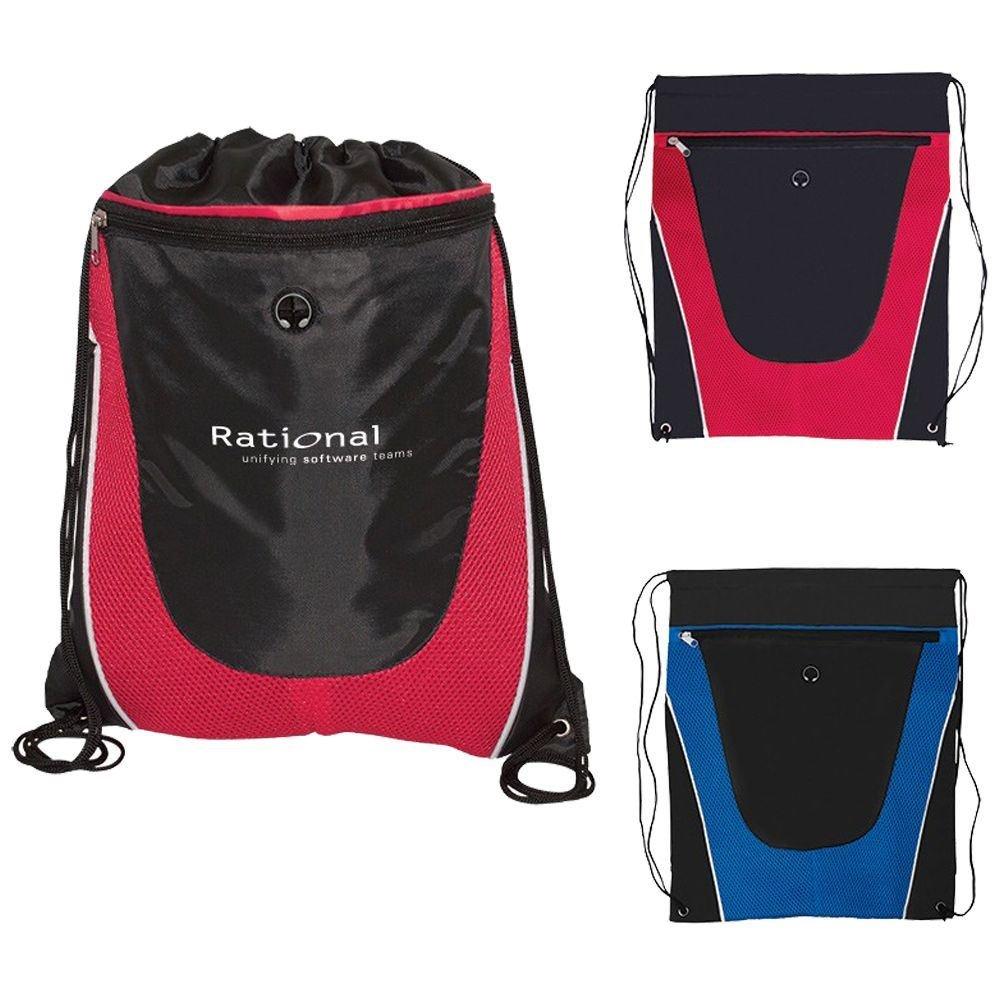 Tonal Mesh Drawstring Backpack - Personalization Available