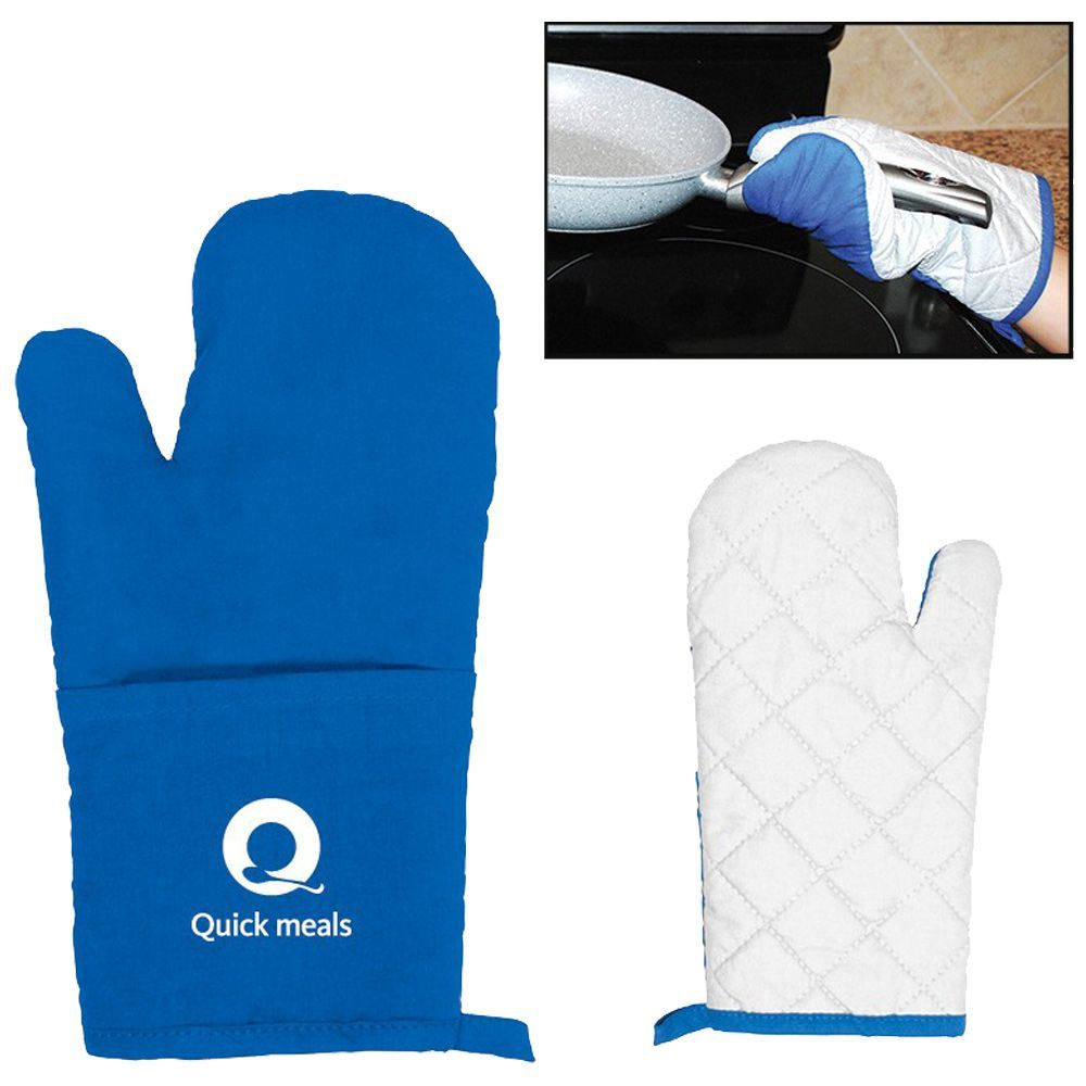 Oven Mitt Blue/White - Personalization Available