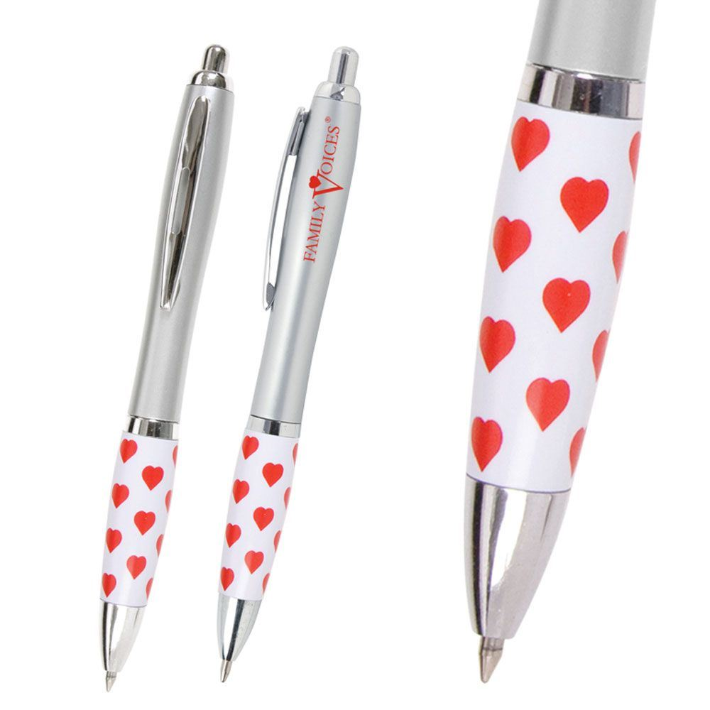 Emissary Red Hearts Click Pen - Personalization Available