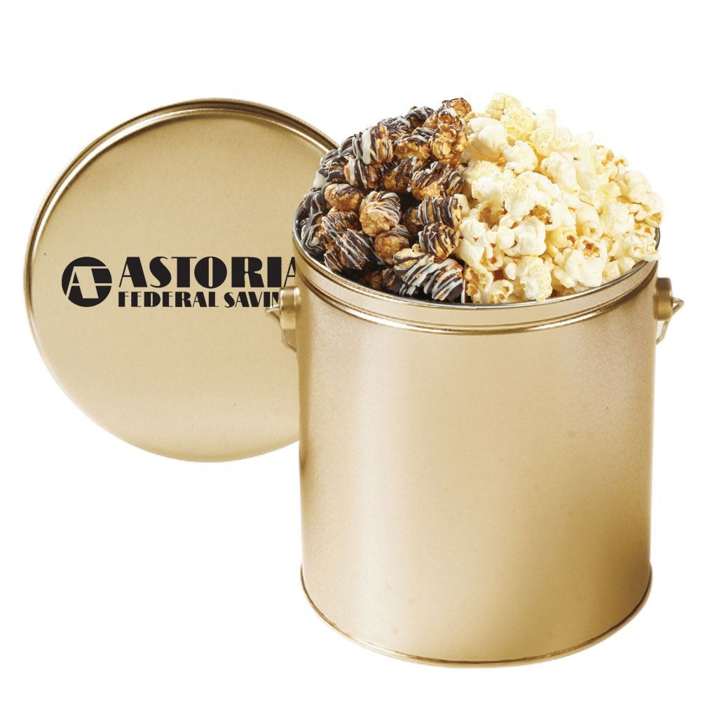 Savory And Sweet Kettle Corn and White & Dark Chocolate-Swirled Popcorn Tin - Personalization Available