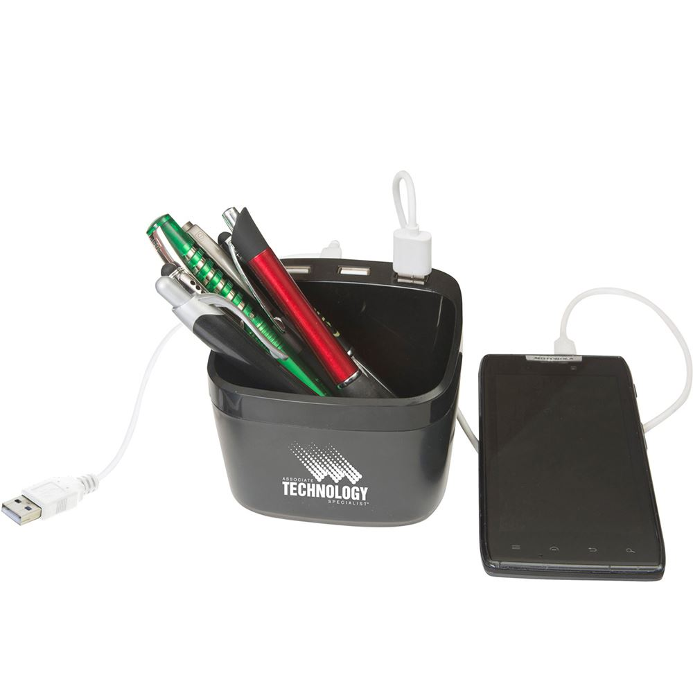 3-In-1 Charging Hub Desk Caddy - Personalization Available