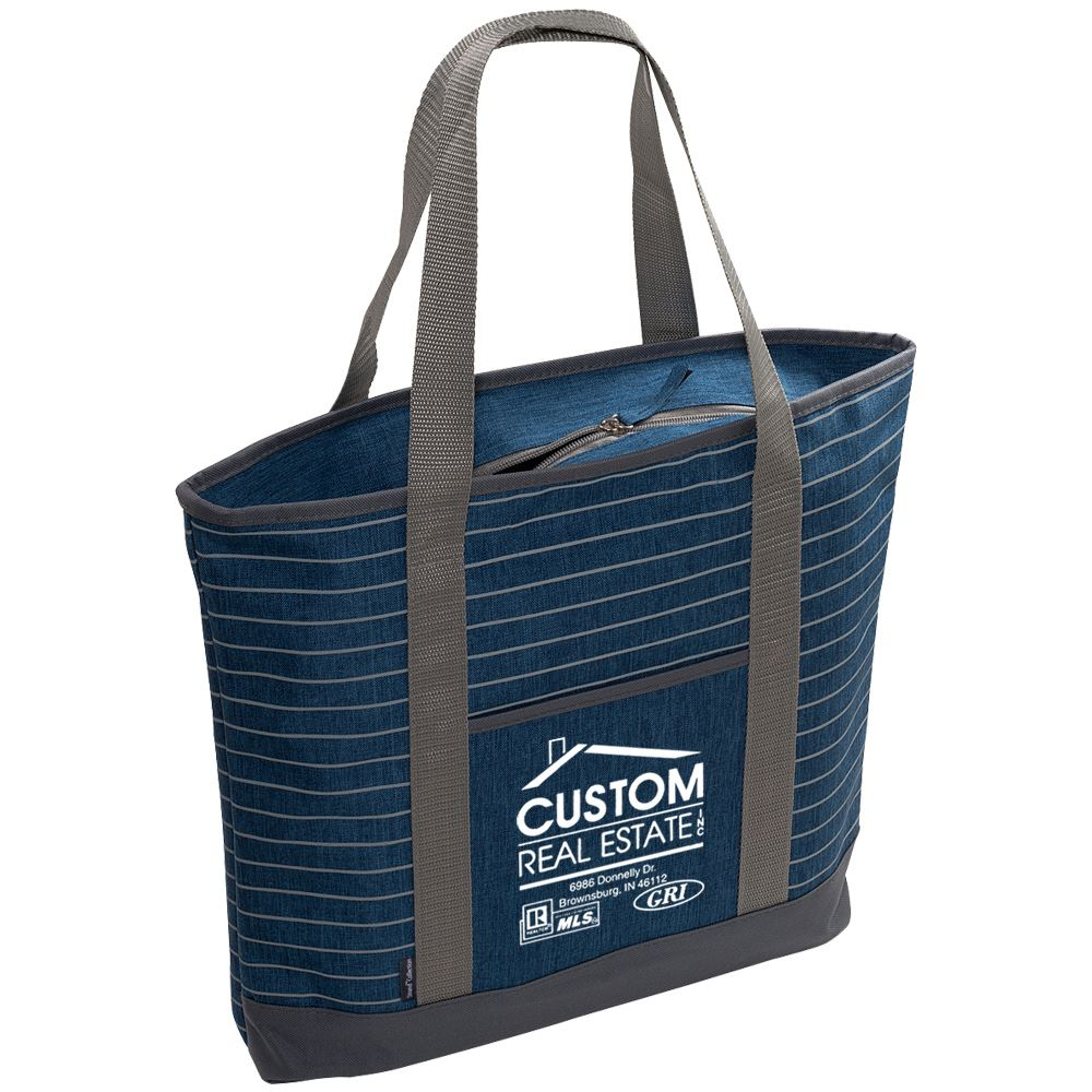Strand Snow Striped Canvas Tote Bag - Personalization Available