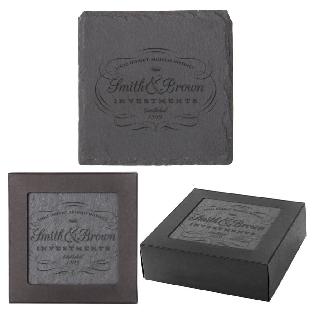 Square Slate Coaster 4-Piece Set - Personalization Available