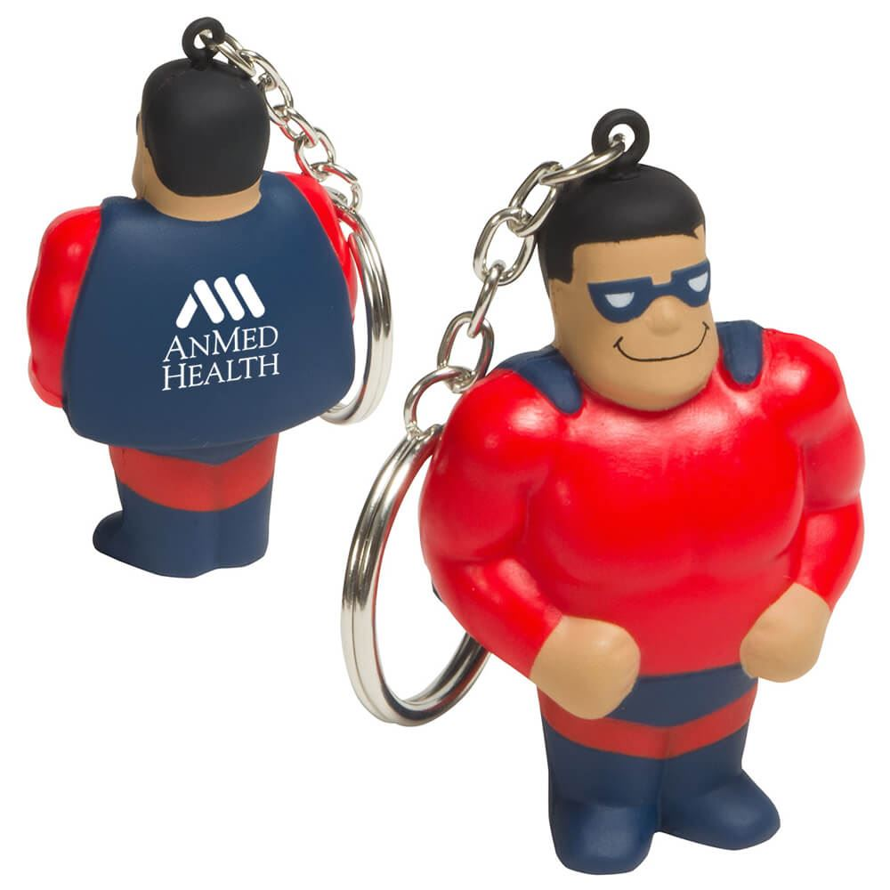 Super Hero Stress Reliever Key Chain Red/Blue - Personalization Available