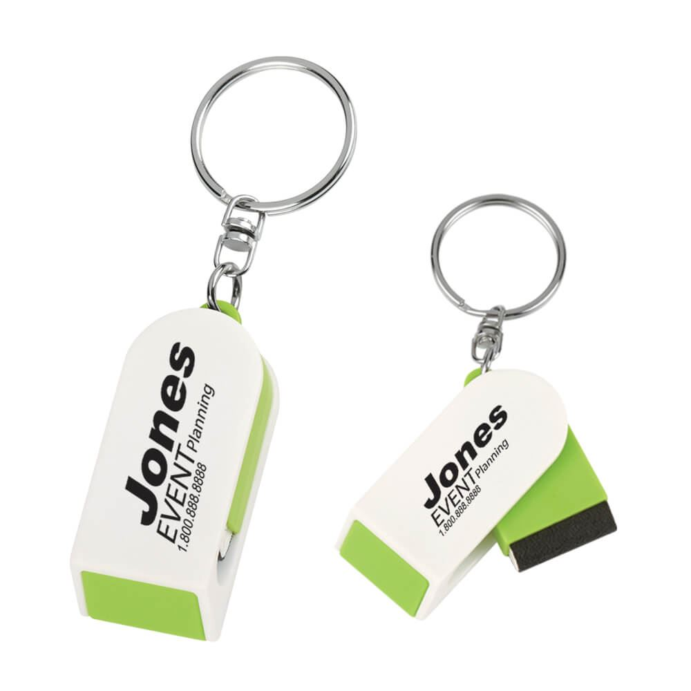 Phone Stand And Screen Cleaner Combo Key Chain - Personalization Available