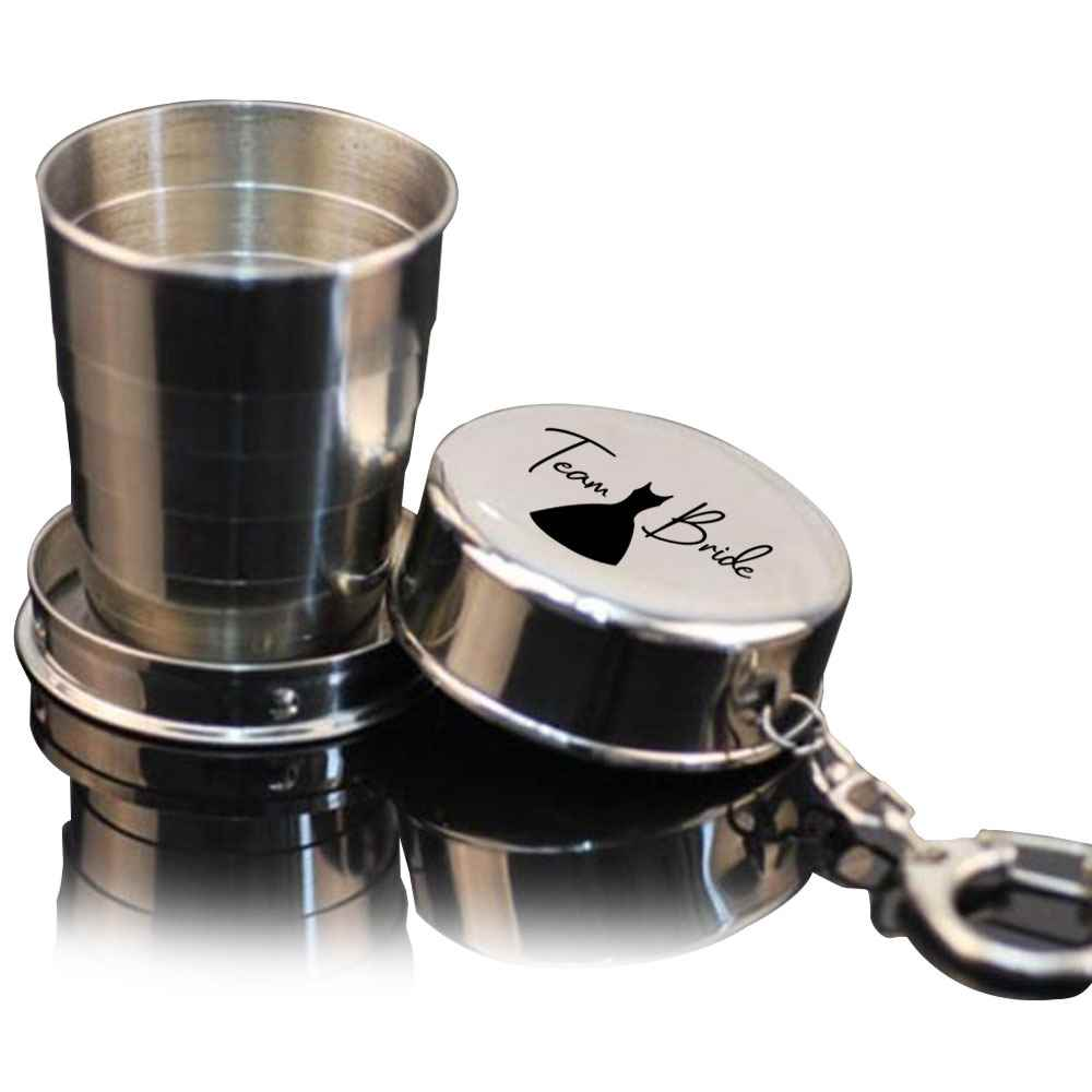 Collapsible Shot Glass With Key Chain 2-oz. - Personalization Available