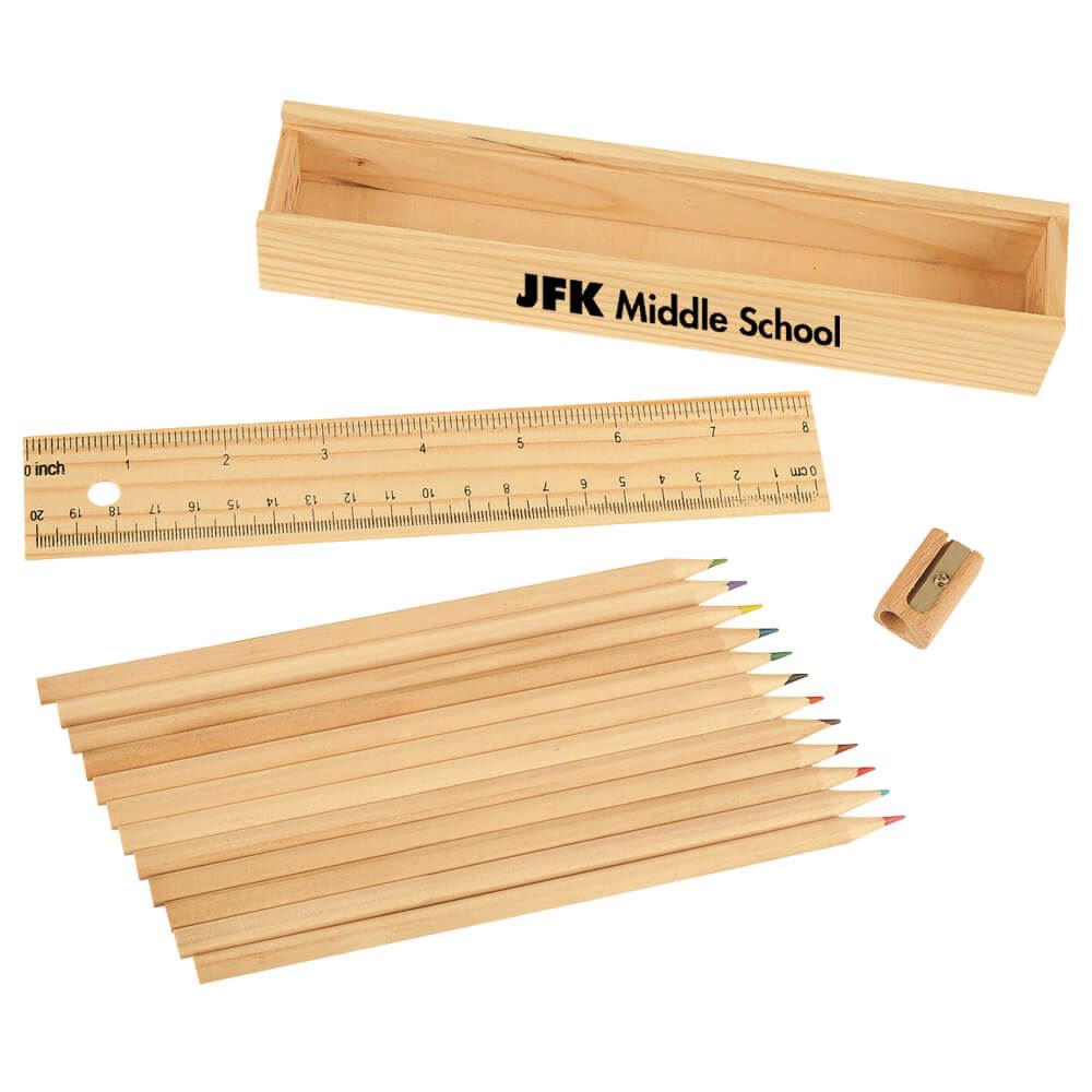 12-Piece Colored Pencil Set in Wooden Ruler Box - Personalization Available
