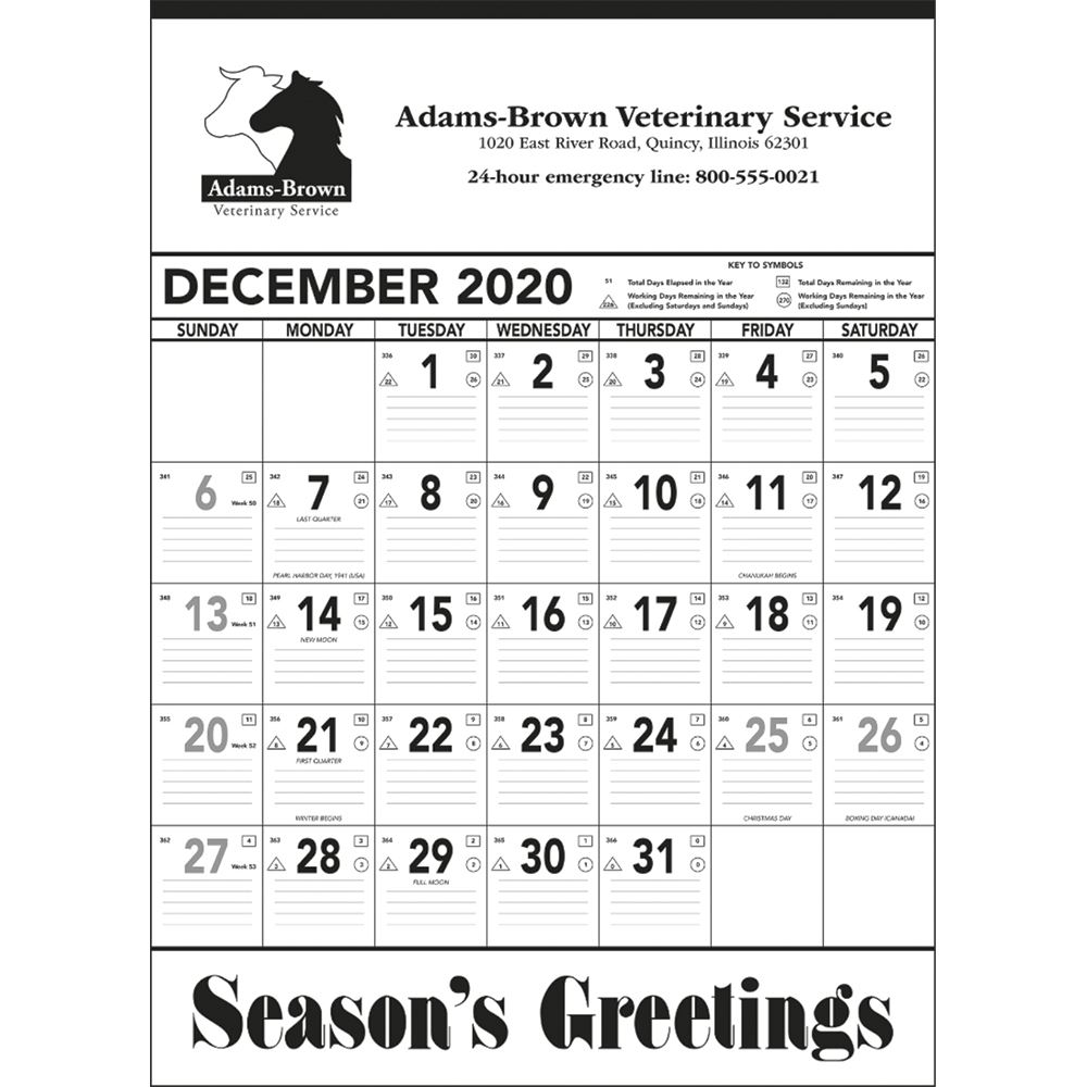 Black And White Contractor Memo 2020 Calendar (13-Sheet) - Personalization Available