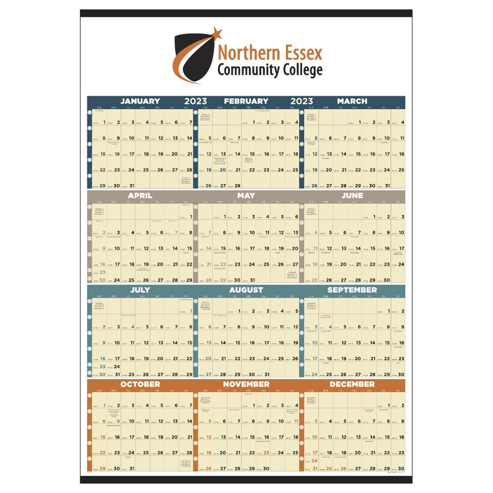 Span-A-Year Non-Laminated 2021 Time Management Calendar Multi-Color Grid - Add Your Personalization