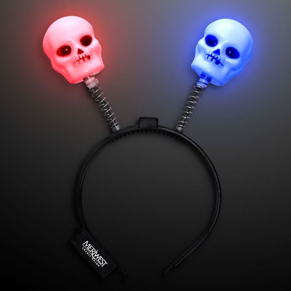 Spooky Skull Light Up Headband Boppers - Personalization Available