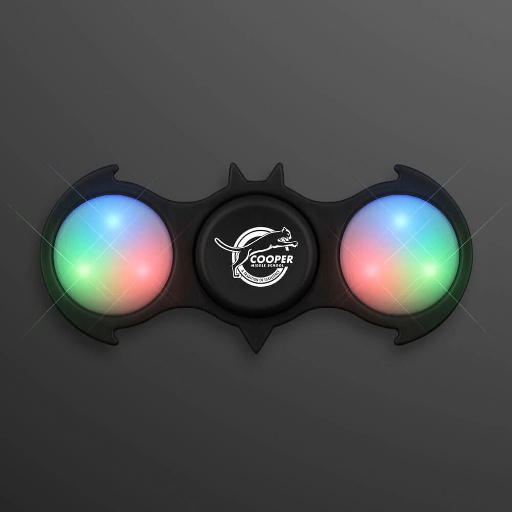 Black Bat Light-Up Fidget Spinner - Personalization Available