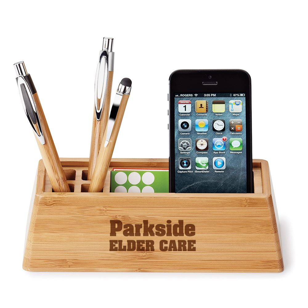 Bamboo Desktop Organizer - Personalization Available
