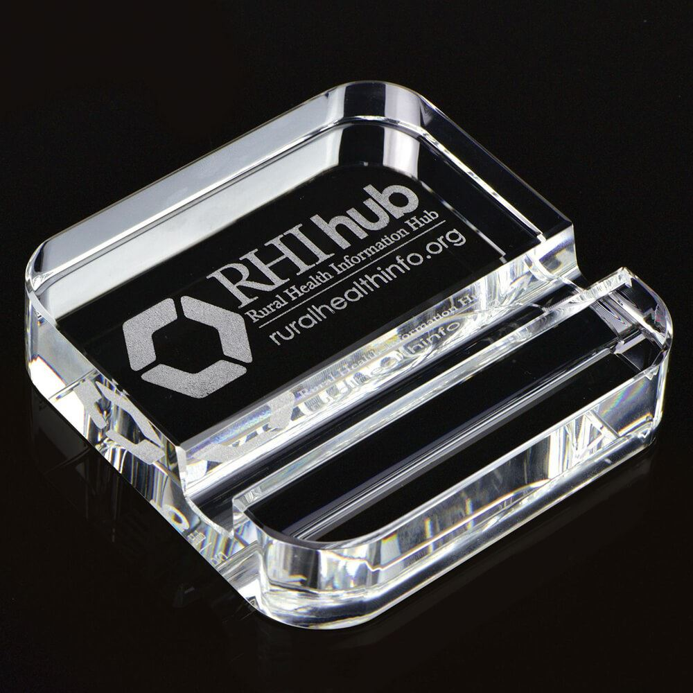 Square Crystal Phone Stand Paperweight - Personalization Available