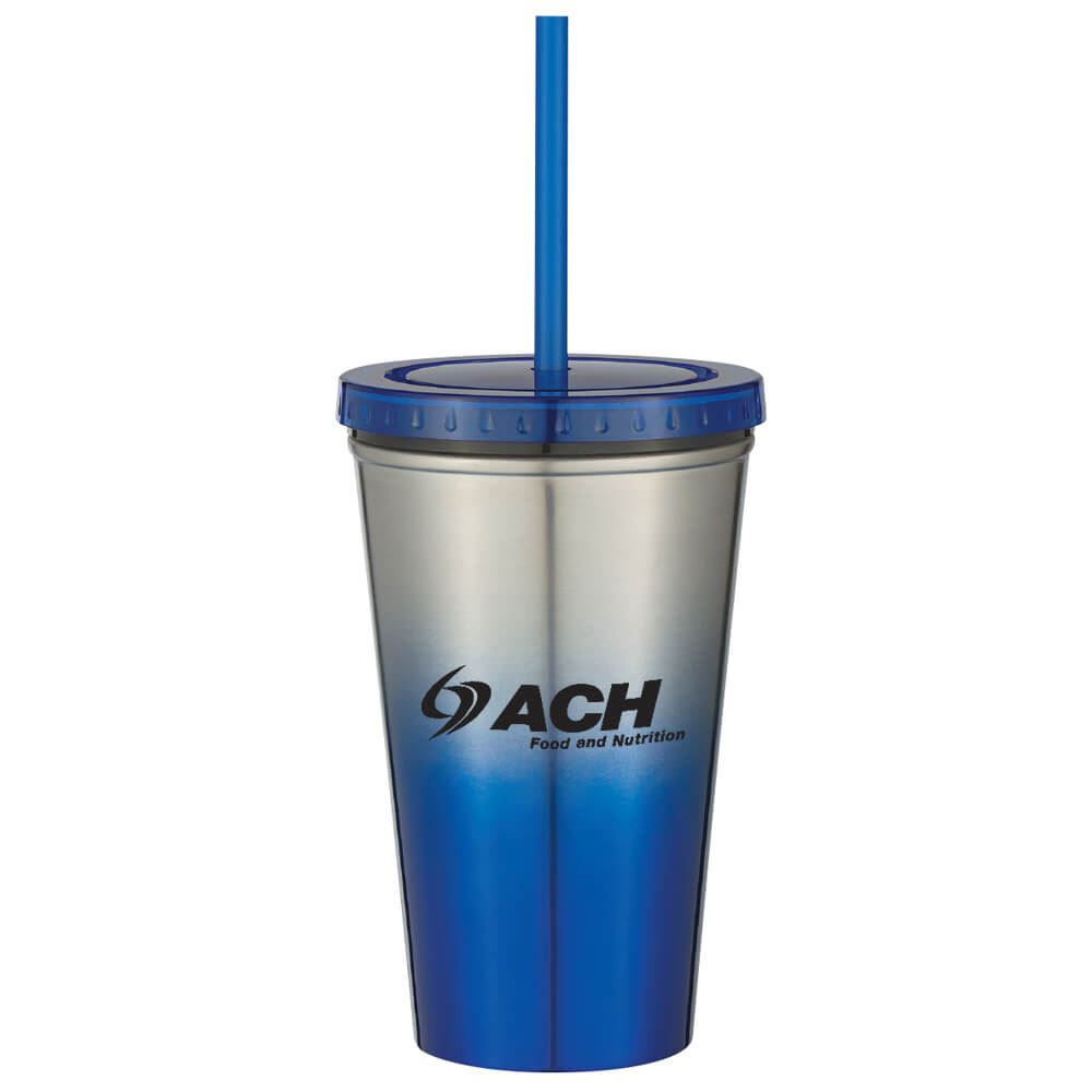 Stainless Steel Chroma Tumbler With Straw 16-oz. - Personalization Available