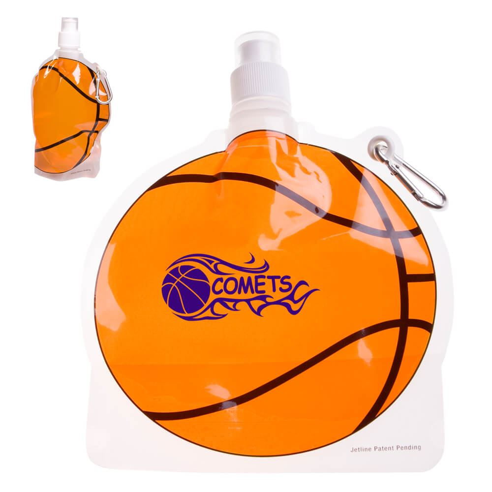 HydroPouch™ Basketball Collapsible Water Bottle 24-oz.  - Personalization Available