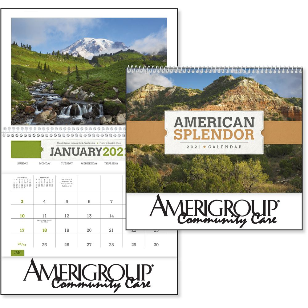 American Splendor 2020 Pocket Wall Calendar - Spiral - Personalization Available