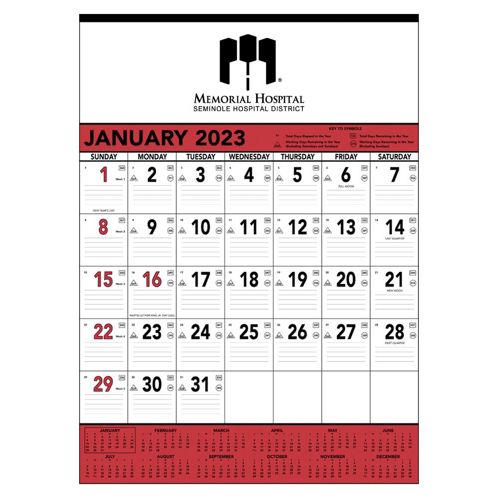 Red And Black Contractor's Memo Calendar (13 Sheet) - Personalization Available