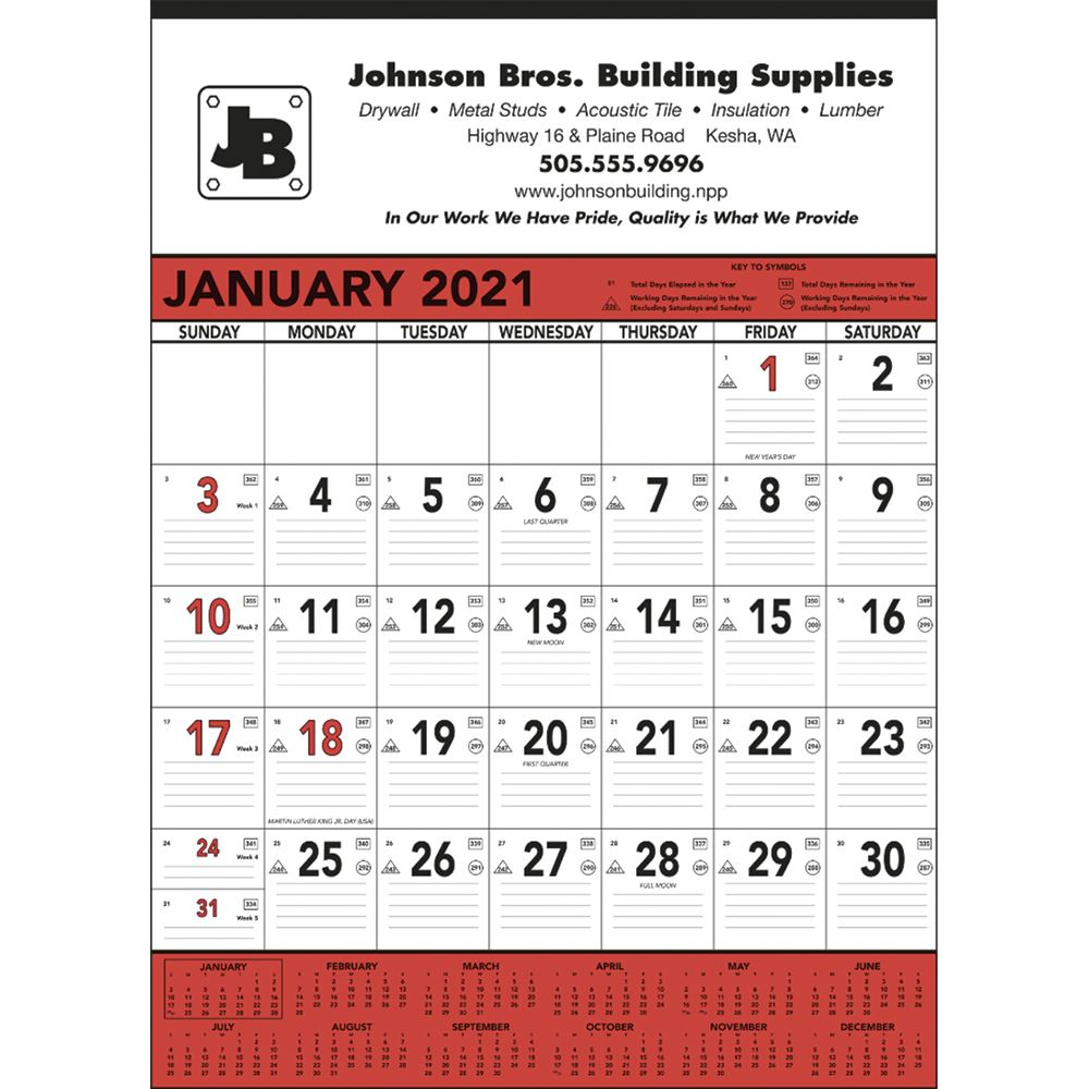 Red And Black Contractor's Memo 2021 Calendar - Personalization Available