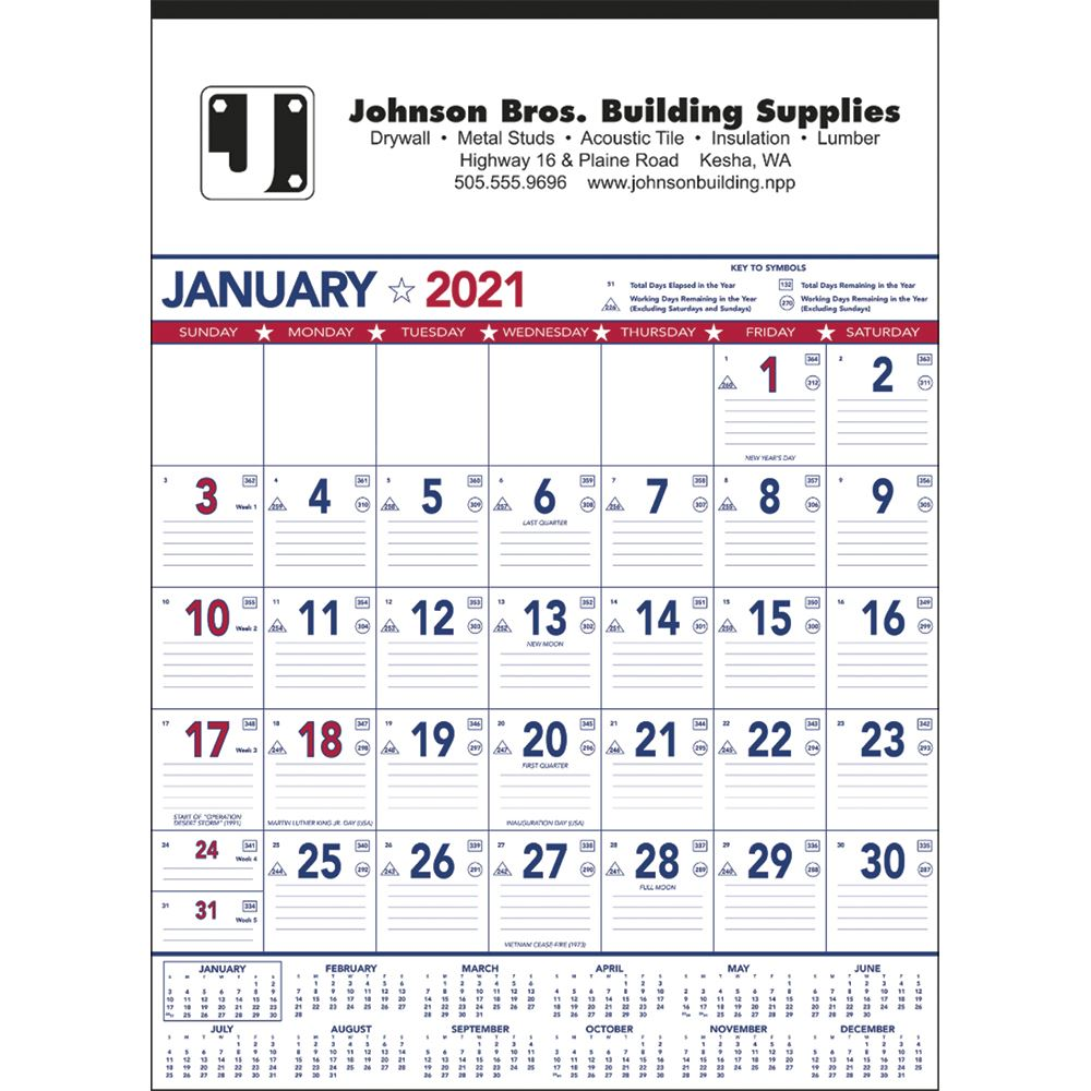 Patriotic Contractor Memo Calendar (13 Sheet) - Personalization Available